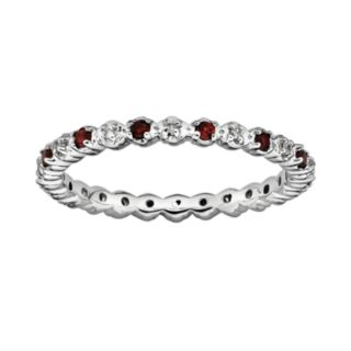 Stacks and Stones Sterling Silver Garnet and Diamond Accent Stack Ring