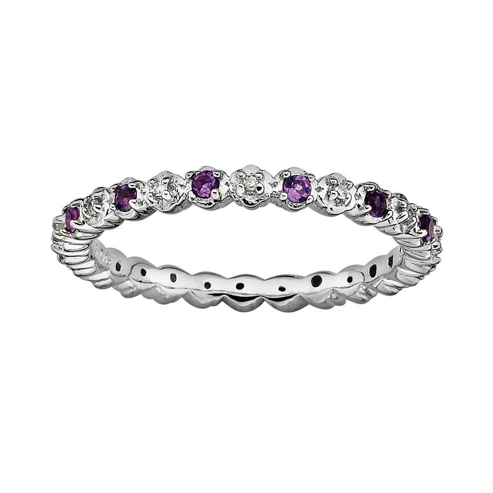 Stacks & Stones Sterling Silver Amethyst & Diamond Accent Stack Ring
