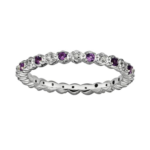 Stacks and Stones Sterling Silver Amethyst and Diamond Accent Stack Ring