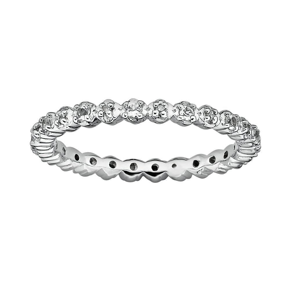Stacks & Stones Sterling Silver White Topaz & Diamond Accent Stack Ring