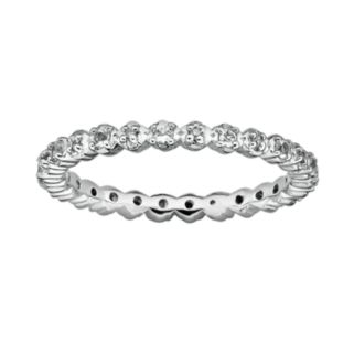 Stacks and Stones Sterling Silver White Topaz and Diamond Accent Stack Ring