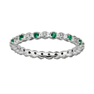 Stacks and Stones Sterling Silver Lab-Created Emerald and Diamond Accent Stack Ring