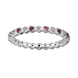 Stacks and Stones Sterling Silver Rhodolite Garnet and Diamond Accent Stack Ring