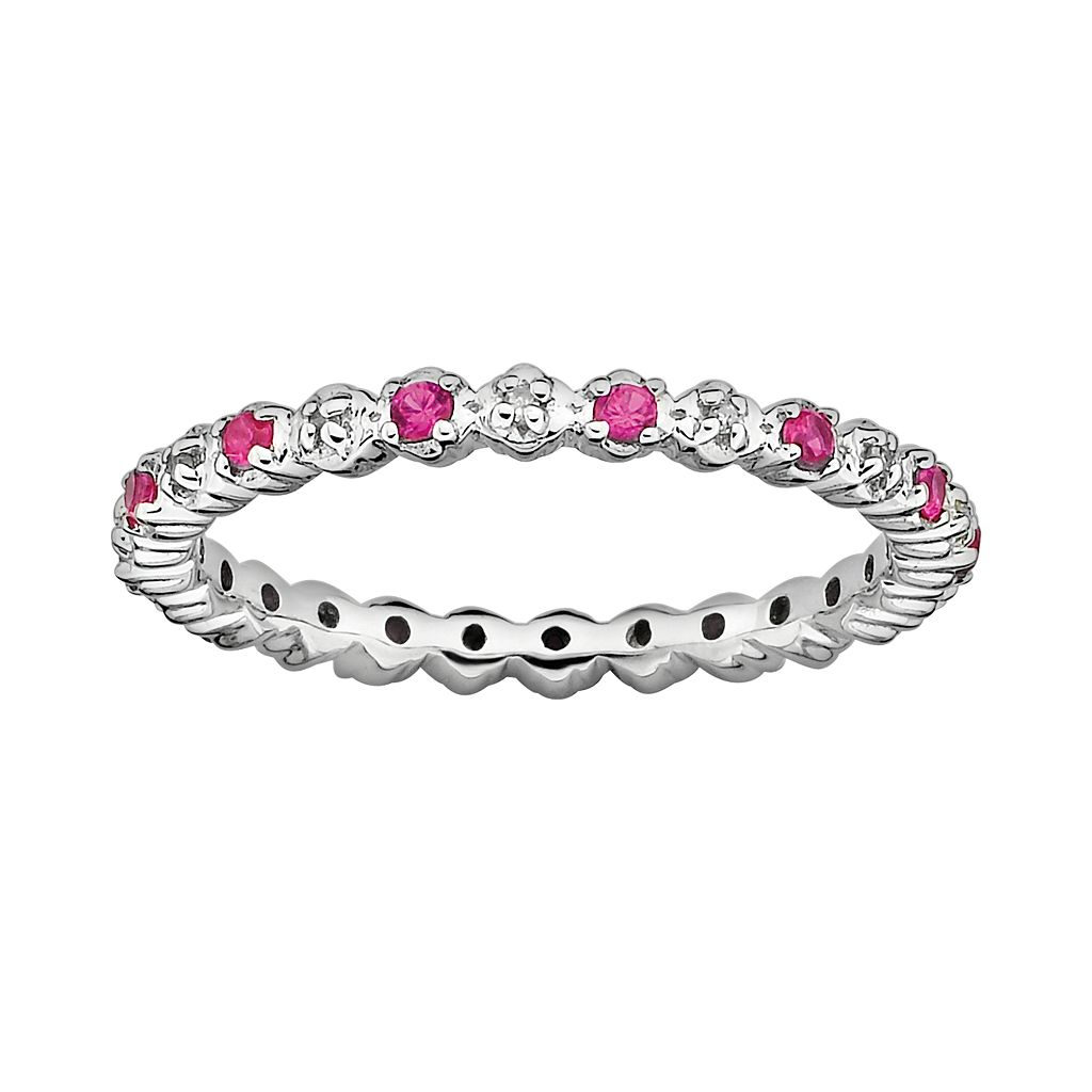 Stacks & Stones Sterling Silver Lab-Created Ruby & Diamond Accent Stack Ring