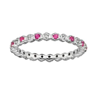 Stacks and Stones Sterling Silver Lab-Created Ruby and Diamond Accent Stack Ring