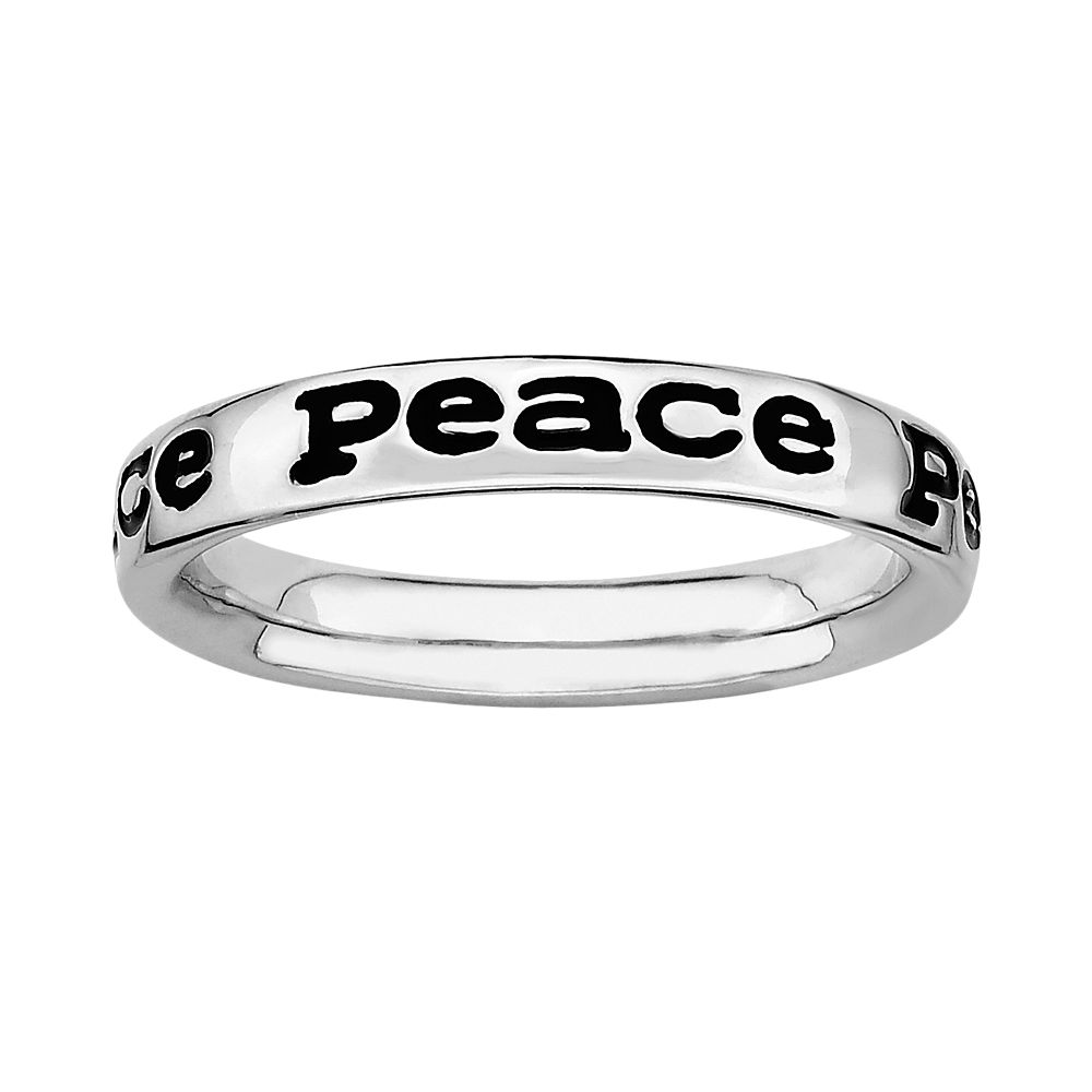 "Stacks & Stones Sterling Silver Black Enamel ""Peace"" Stack Ring"