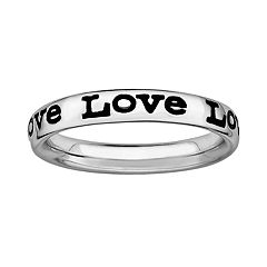 Stacks & Stones Sterling Silver Black Enamel 'Love' Stack Ring
