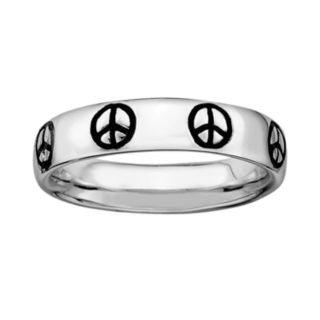 Stacks and Stones Sterling Silver Black Enamel Peace Sign Stack Ring