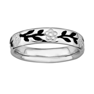 Stacks and Stones Sterling Silver Black and White Enamel Flower Stack Ring