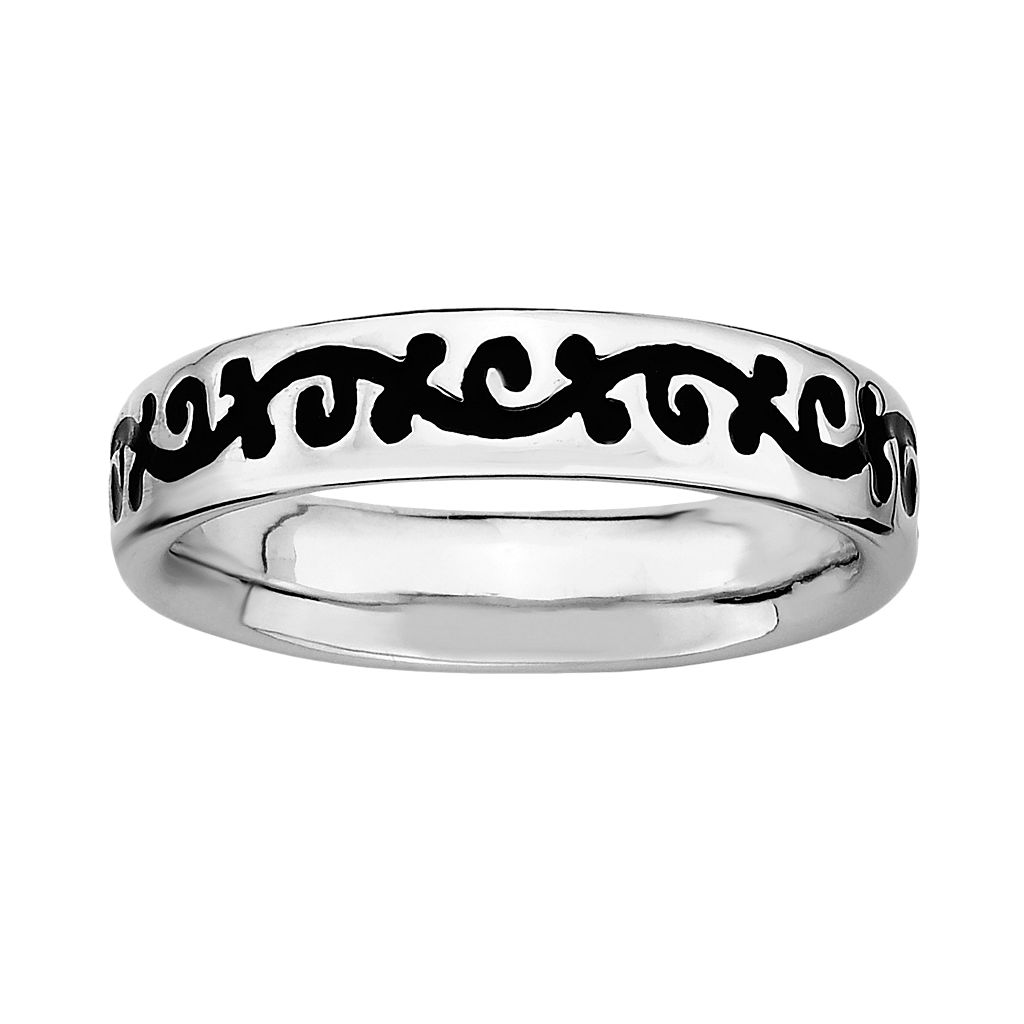 Stacks & Stones Sterling Silver Black Enamel Scroll Stack Ring