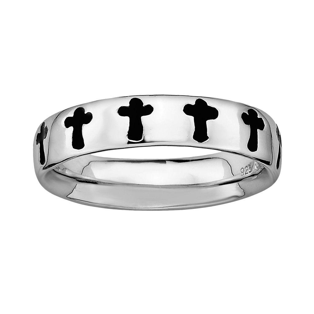 Stacks & Stones Sterling Silver Black Enamel Cross Stack Ring