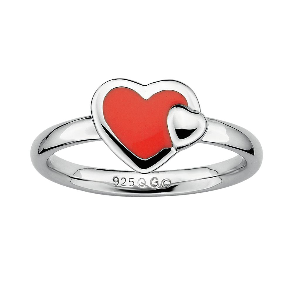 Stacks & Stones Sterling Silver Red Enamel Heart Stack Ring