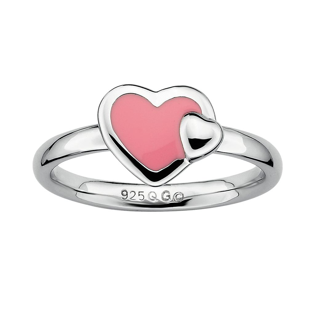 Stacks & Stones Sterling Silver Pink Enamel Heart Stack Ring