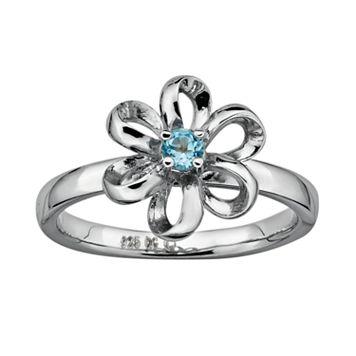 Stacks & Stones Sterling Silver Blue Topaz Flower Stack Ring