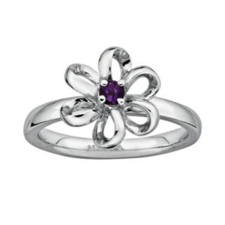 Stacks and Stones Sterling Silver Amethyst Flower Stack Ring
