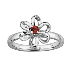 Stacks & Stones Sterling Silver Garnet Flower Stack Ring