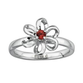 Stacks and Stones Sterling Silver Garnet Flower Stack Ring