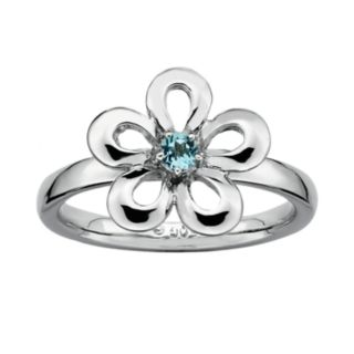 Stacks and Stones Sterling Silver Blue Topaz Flower Stack Ring