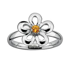 Stacks & Stones Sterling Silver Citrine Flower Stack Ring