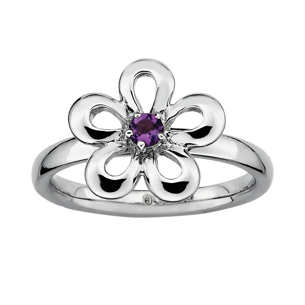 Stacks & Stones Sterling Silver Amethyst Flower Stack Ring