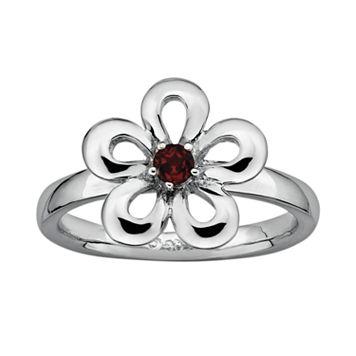 Stacks & Stones Sterling Silver Garnet Flower Stack Ring