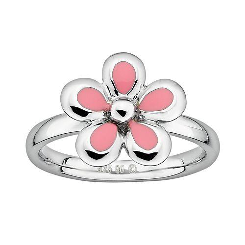 Stacks & Stones Sterling Silver Pink Enamel Flower Stack Ring