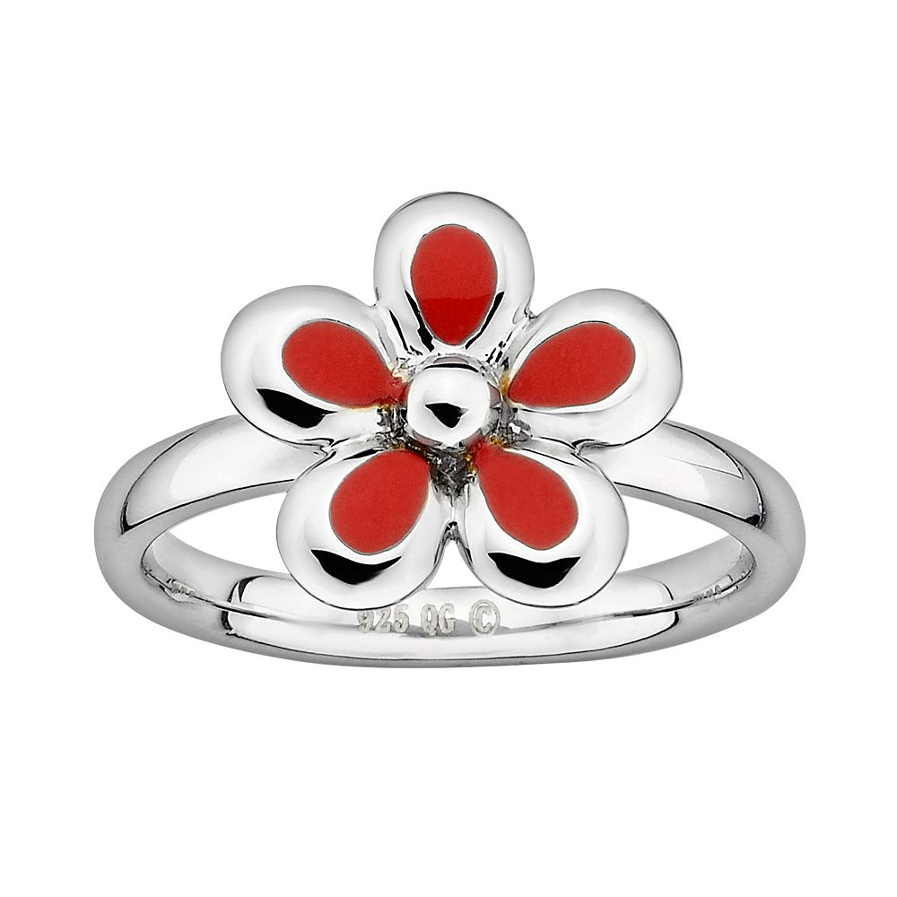 Stacks & Stones Sterling Silver Red Enamel Flower Stack Ring