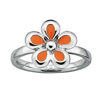Stacks & Stones Sterling Silver Orange Flower Stack Ring