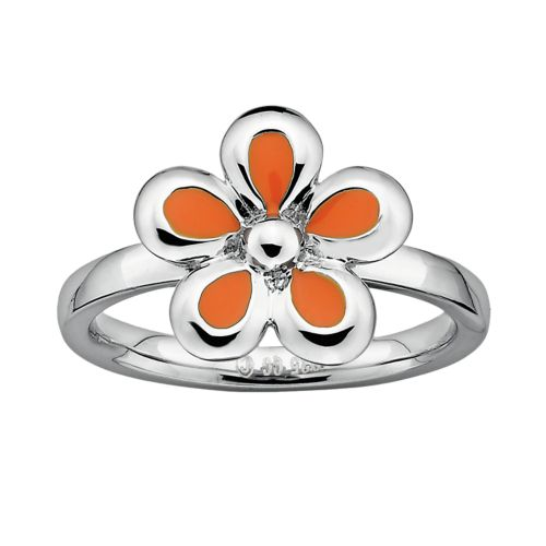 Stacks and Stones Sterling Silver Orange Flower Stack Ring