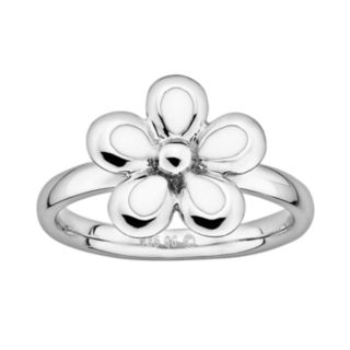 Stacks and Stones Sterling Silver White Enamel Flower Stack Ring