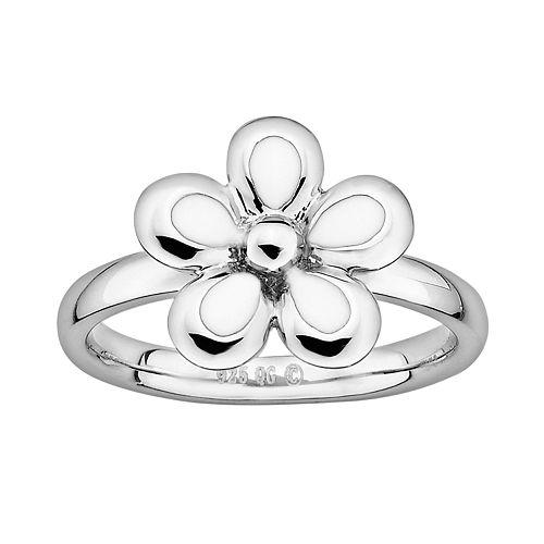 Stacks & Stones Sterling Silver White Enamel Flower Stack Ring
