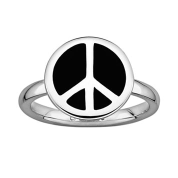Stacks & Stones Sterling Silver Black Enamel Peace Sign Stack Ring