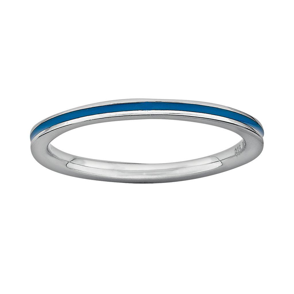 Stacks & Stones Sterling Silver Blue Enamel Stack Ring