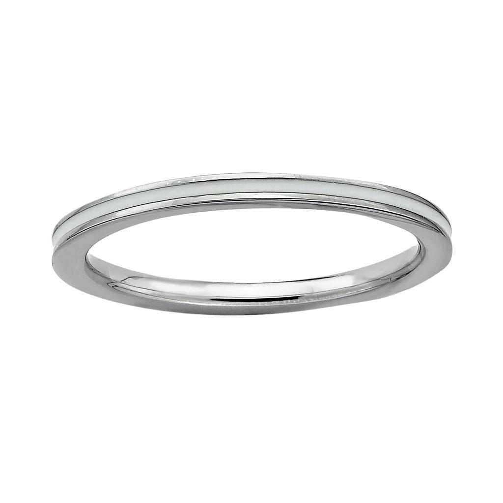 Stacks & Stones Sterling Silver White Enamel Stack Ring