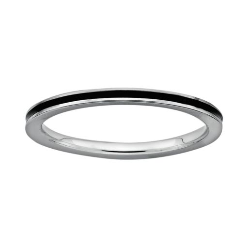 Stacks and Stones Sterling Silver Black Enamel Stack Ring