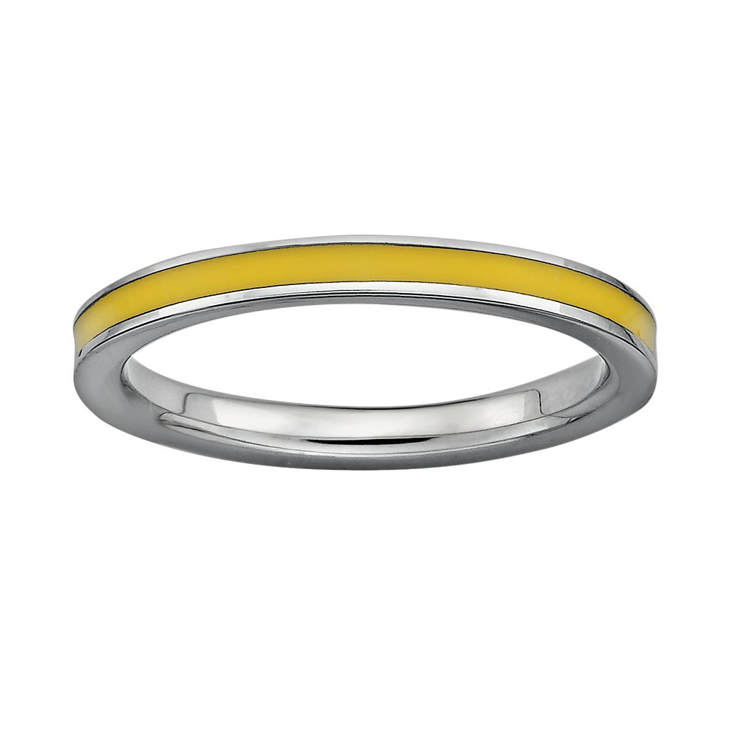 Stacks & Stones Sterling Silver Yellow Enamel Stack Ring