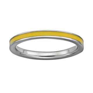 Stacks and Stones Sterling Silver Yellow Enamel Stack Ring
