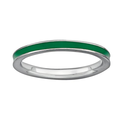 Stacks & Stones Sterling Silver Green Enamel Stack Ring
