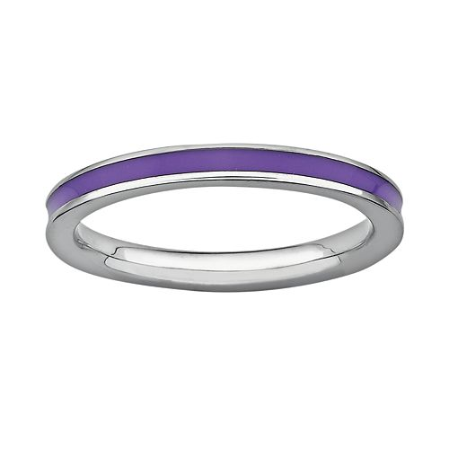 Stacks & Stones Sterling Silver Purple Enamel Stack Ring