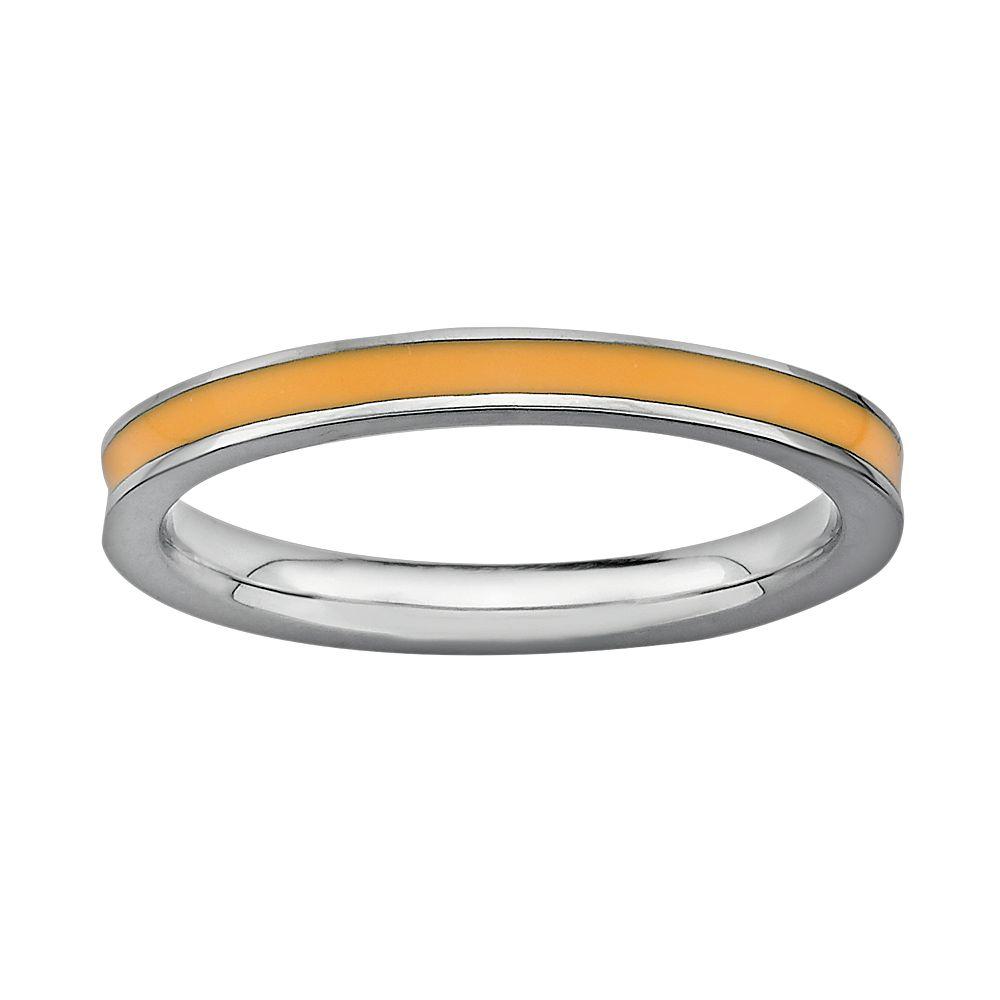 Stacks & Stones Sterling Silver Orange Enamel Stack Ring