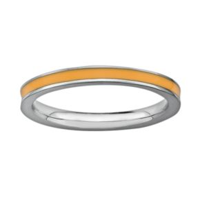 Stacks and Stones Sterling Silver Orange Enamel Stack Ring