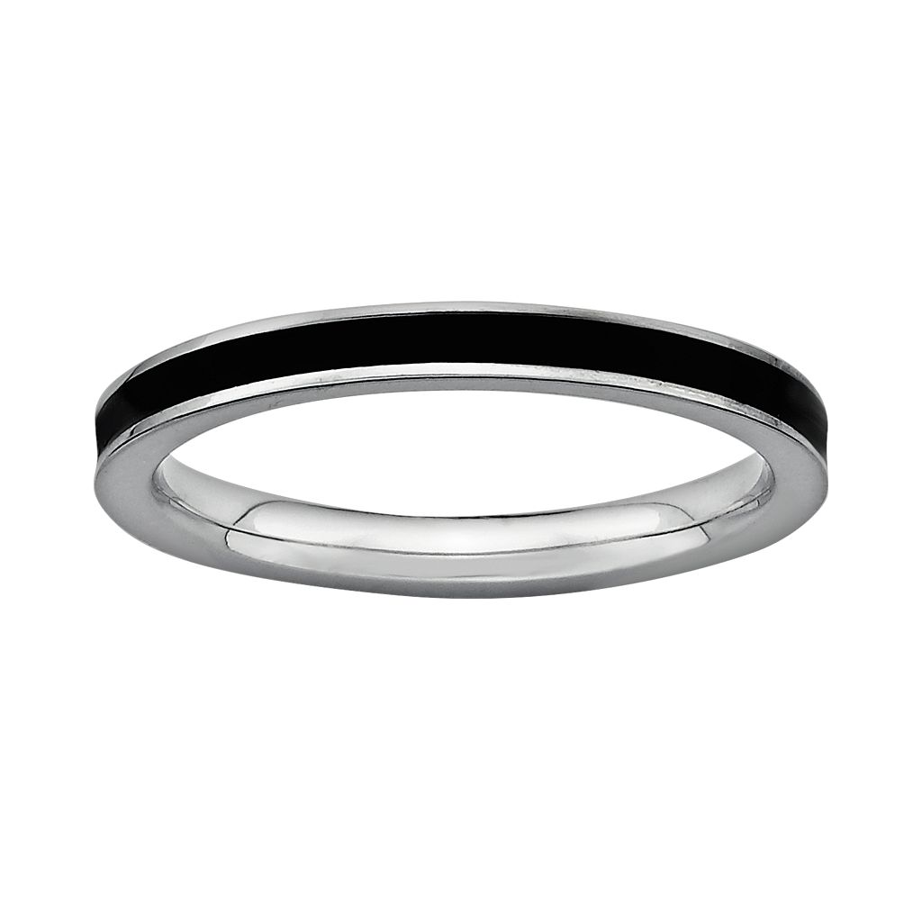 Stacks & Stones Sterling Silver Black Enamel Stack Ring
