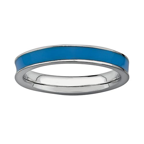Stacks & Stones Sterling Silver Blue Enamel Stack Ring