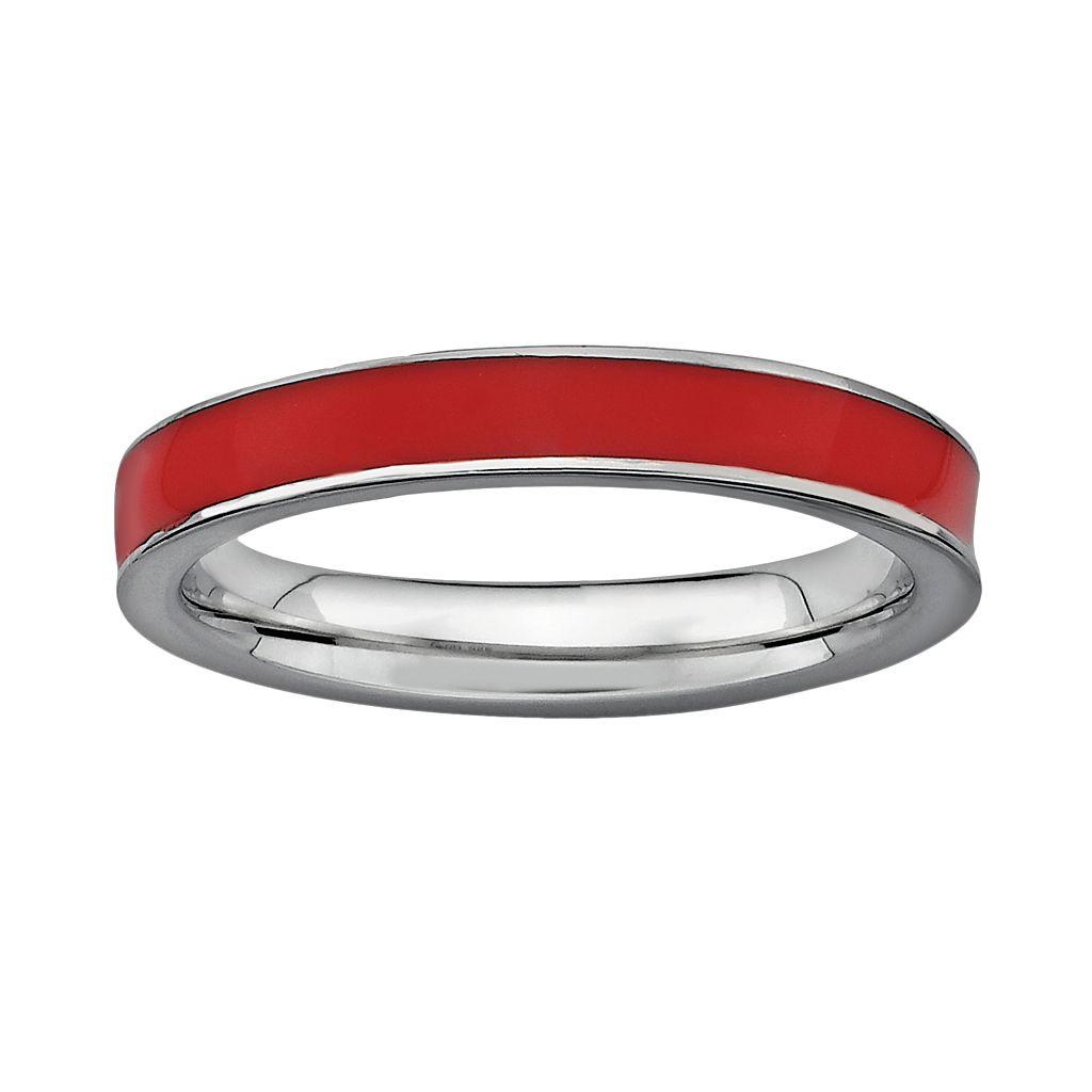 Stacks & Stones Sterling Silver Red Enamel Stack Ring