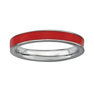 Stacks and Stones Sterling Silver Red Enamel Stack Ring