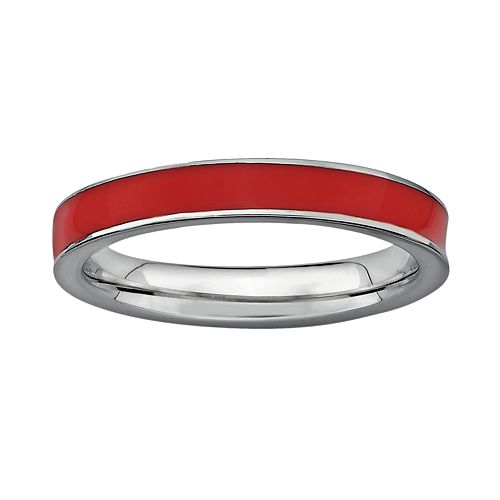 Stacks & Stones Sterling Silver Red Enamel Stack Ring