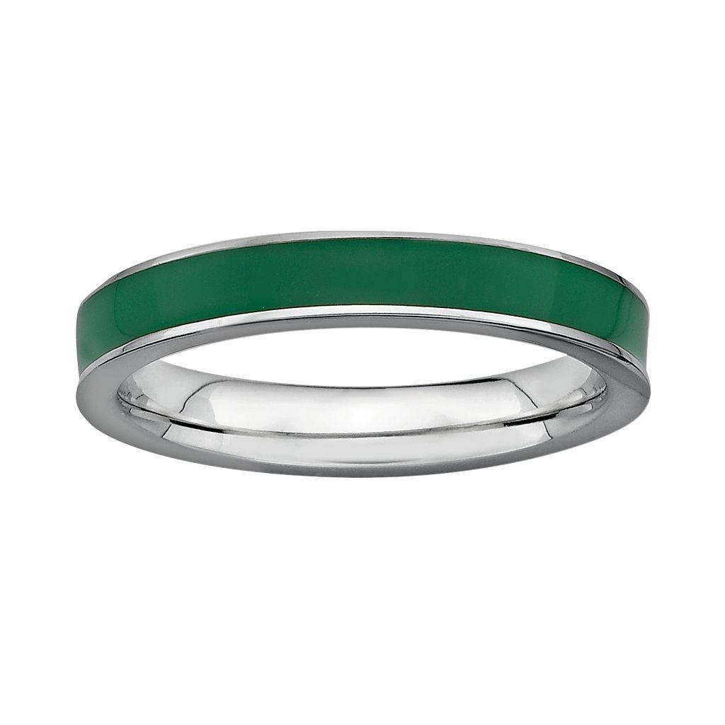 Stacks & Stones Sterling Silver Green Enamel Stack Ring