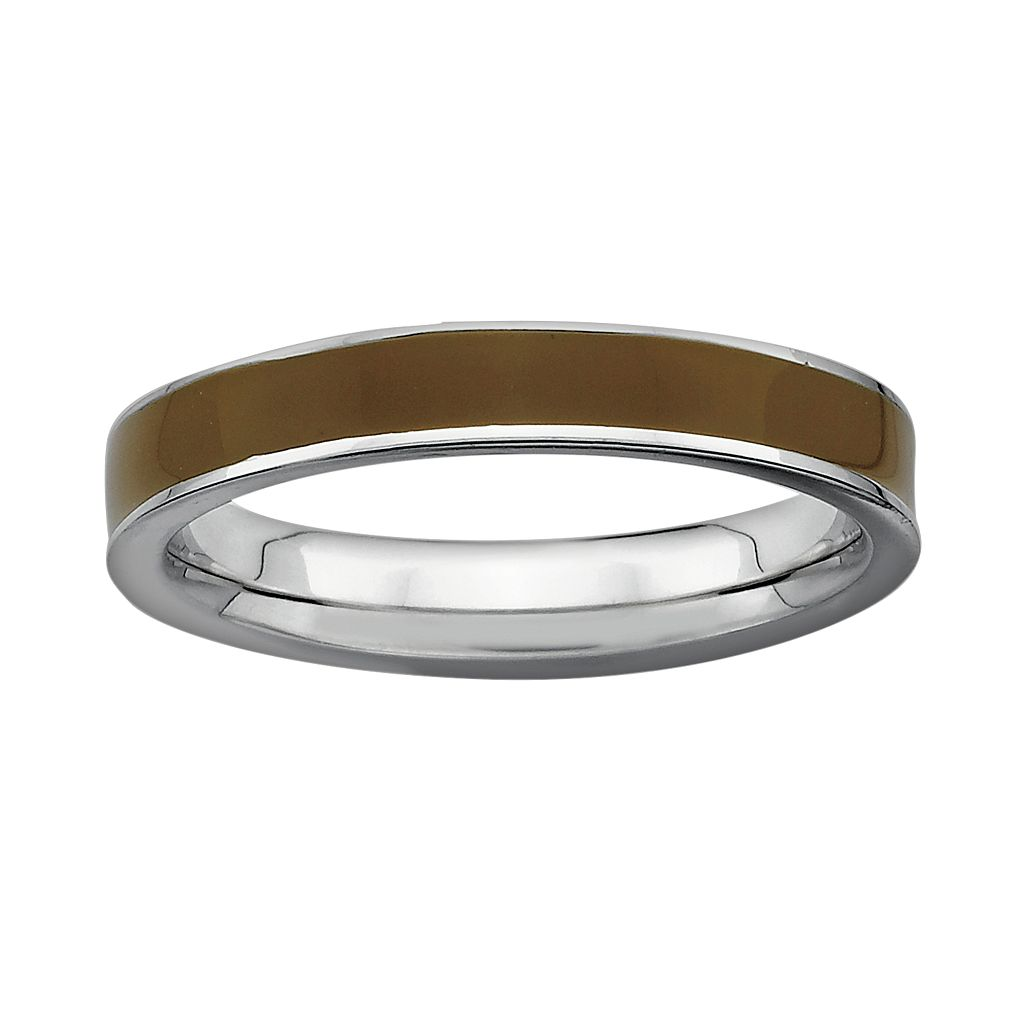Stacks & Stones Sterling Silver Brown Enamel Stack Ring