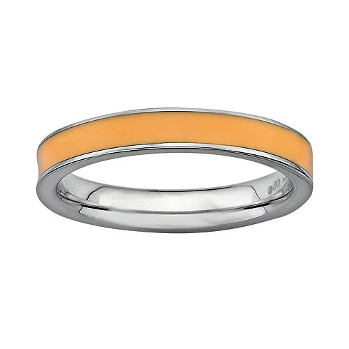 Stacks & Stones Sterling Silver Orange Enamel Stack Ring