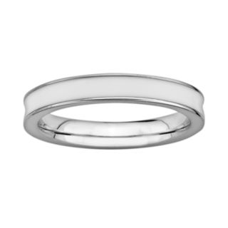 Stacks and Stones Sterling Silver White Enamel Stack Ring